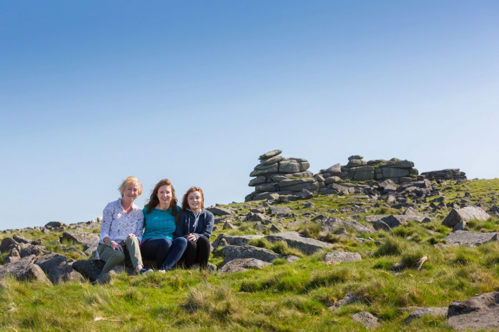 Three Generations; Tara (centre), with her mum Anne and daughter Anna on Dartmoor