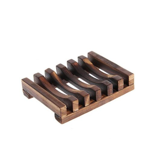 Eco-friendly natural wooden bamboo soap dish.